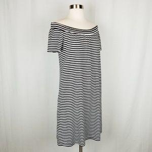Dresses & Skirts - Off the shoulder striped knit dress